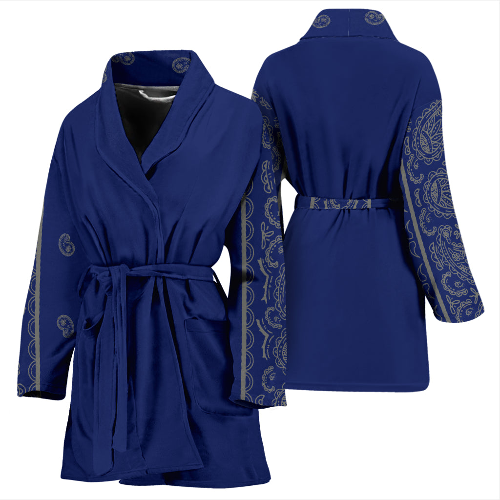 blue and gray bandana robe front view
