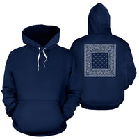 navy and white bandana pullover hoodie