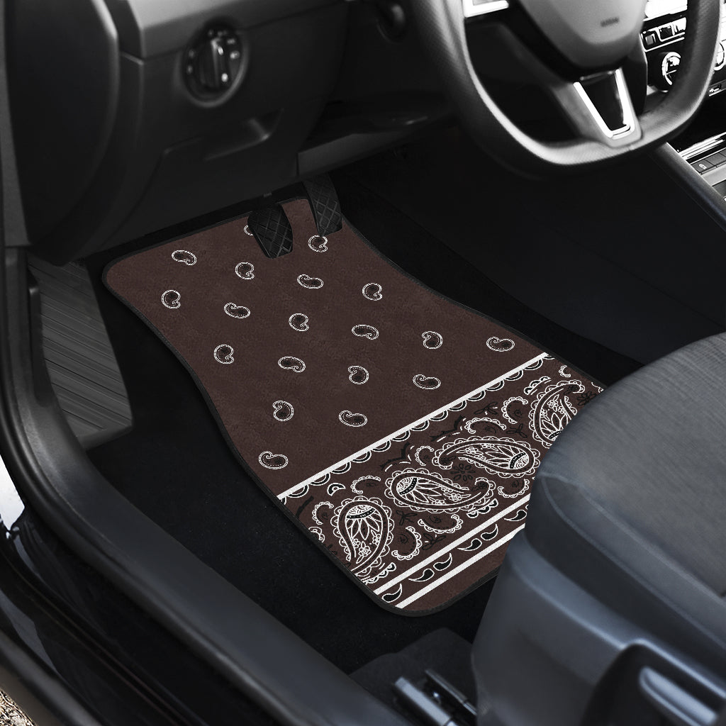 Quad Coffee Brown Bandana Car Mats - Fancy