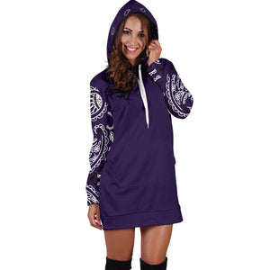 Royal Purple Bandana Hoodie Dress front