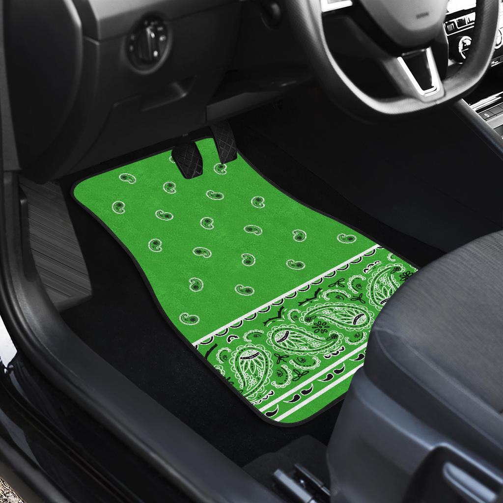 Quad Lime Green Bandana Car Floor Mats - Fancy
