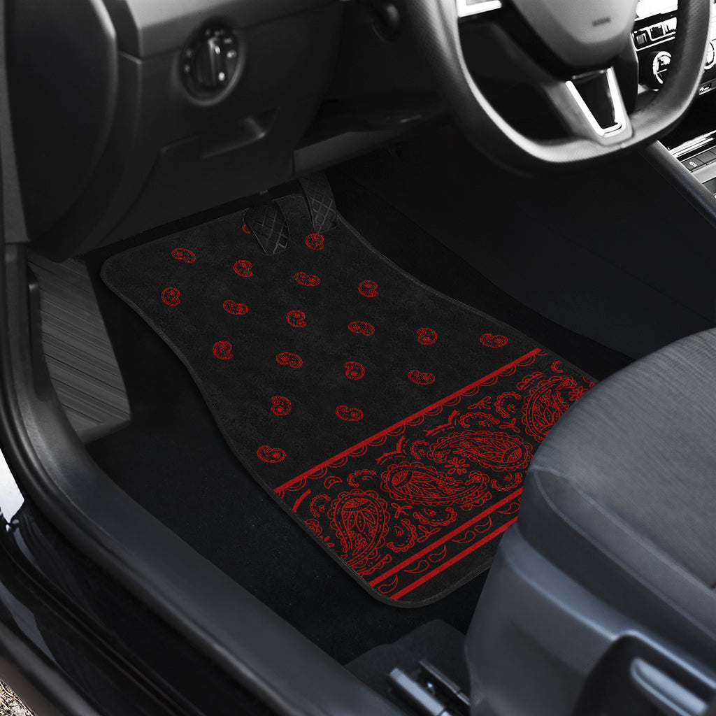 Quad Black and Red Bandana Car Mats - Fancy