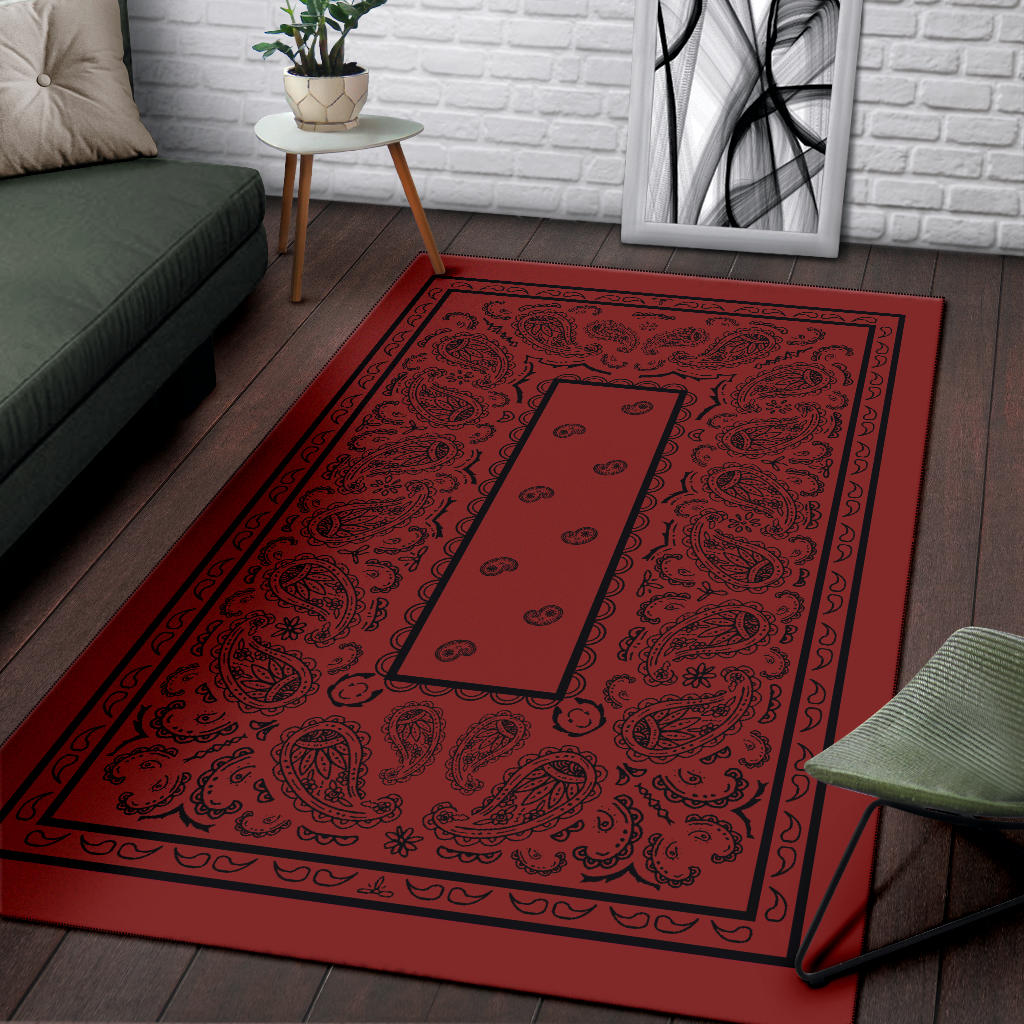 red and black throw rug