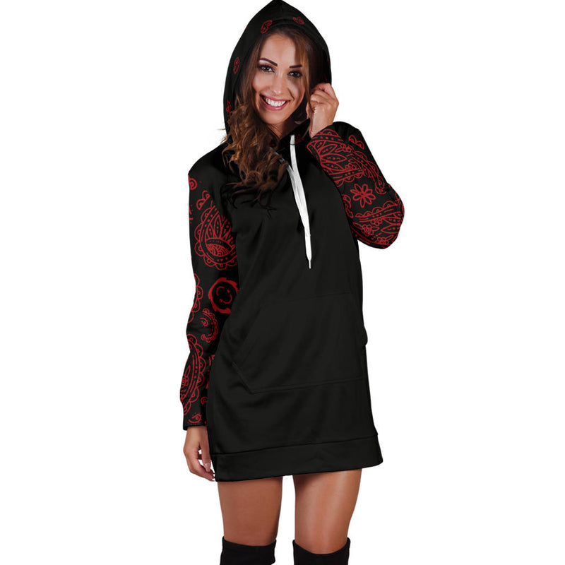 Black and Red Bandana Hoodie Dress front