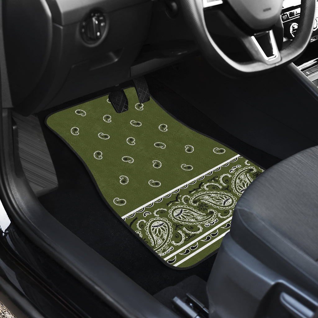 Quad Army Green Bandana Car Mats - Fancy