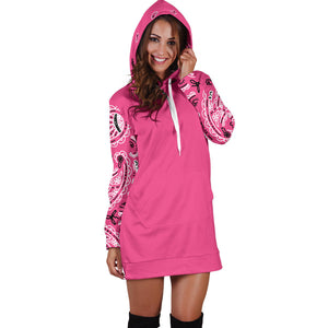Warm Pink Bandana Hoodie Dress