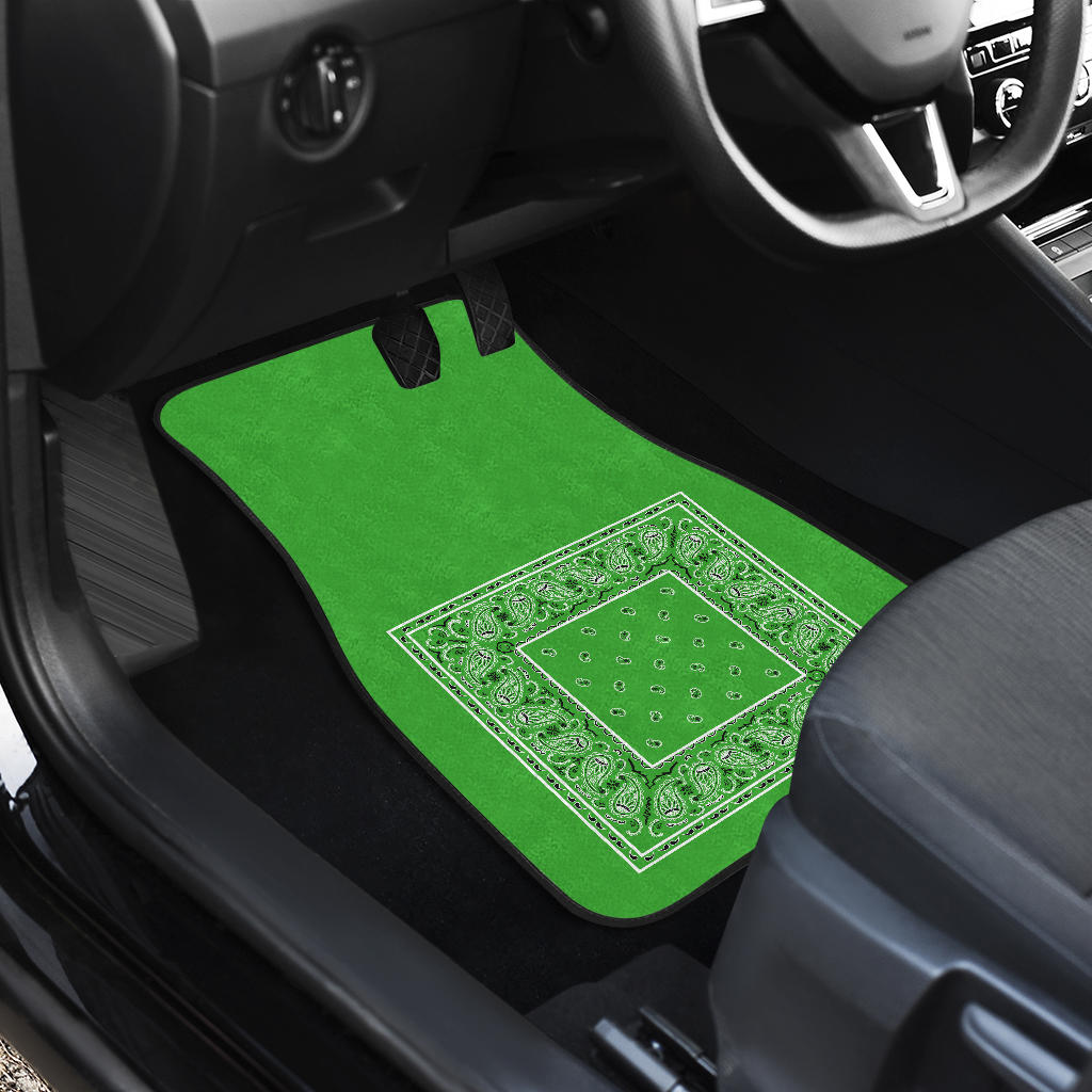 Quad Lime Green Bandana Car Floor Mats - Minimal