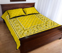 Sunshine Yellow Bandana Bed Quilts with Shams