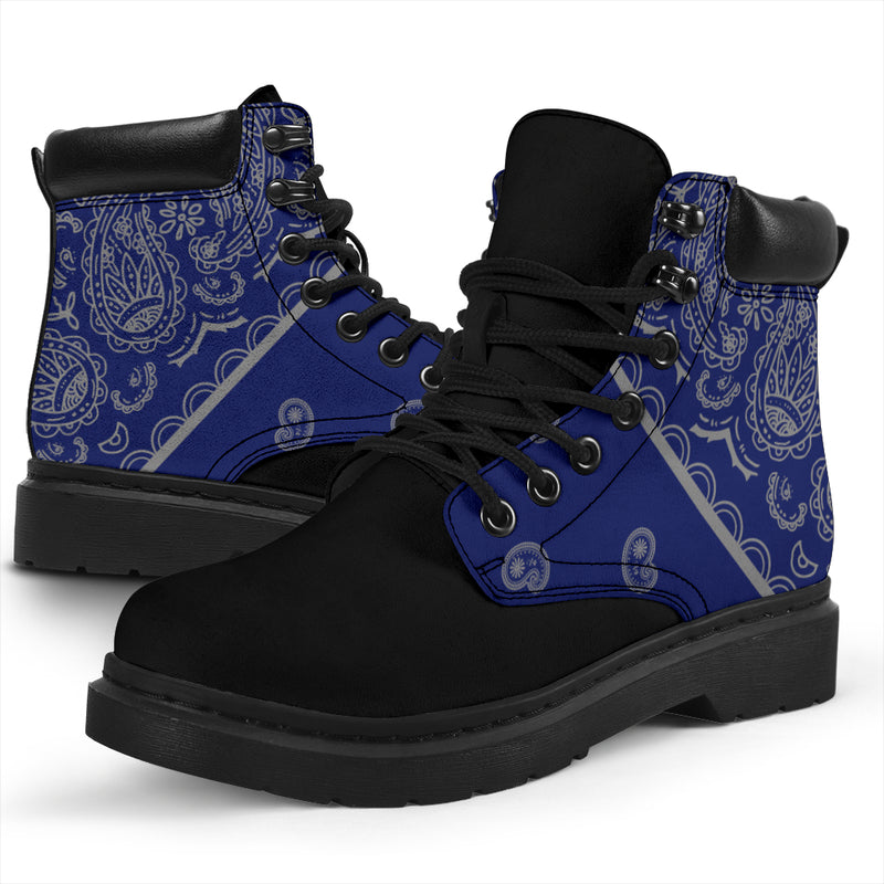 Blue and Gray Bandana Blackout All Season Boots