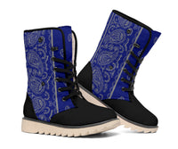blue and gray bandana print winter boots