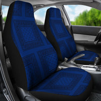 blue and black car seat covers