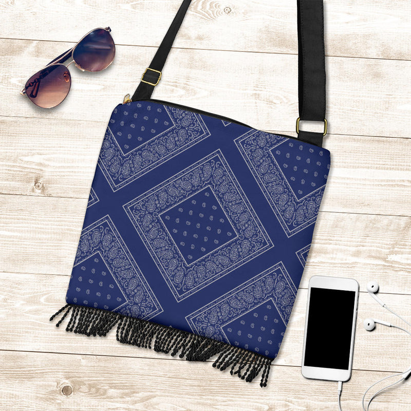 blue and gray bandana crossbody bag