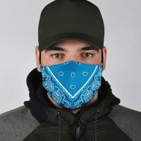 Adjustable Sky Blue Bandana Face Mask with 5 Layer Filters