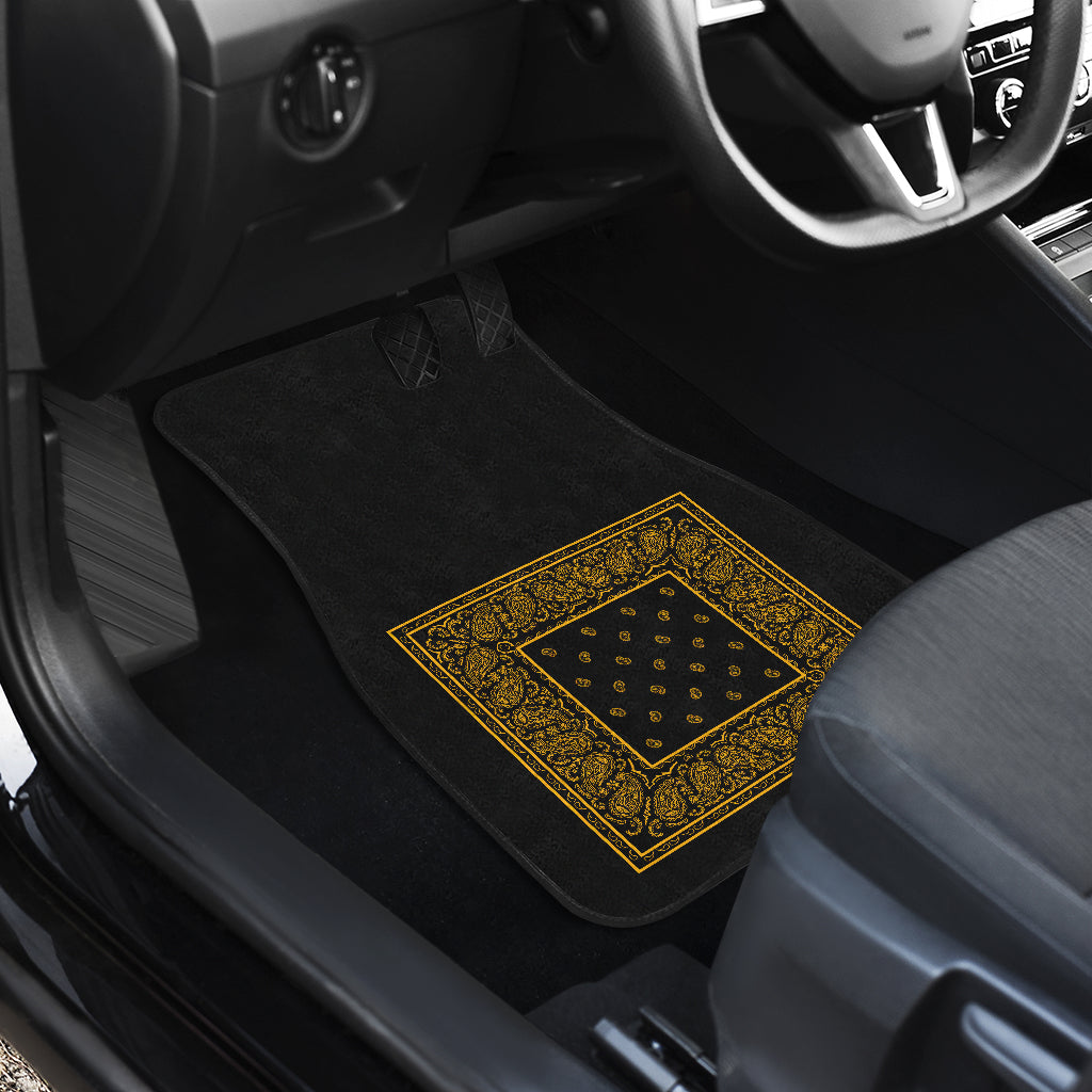 Quad Black Gold Bandana Car Mats - Minimal