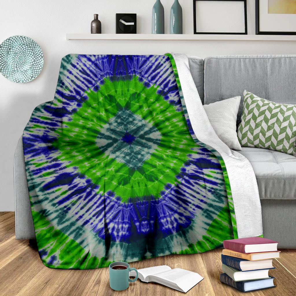 Green Abyss Tie Dye Fleece Throws
