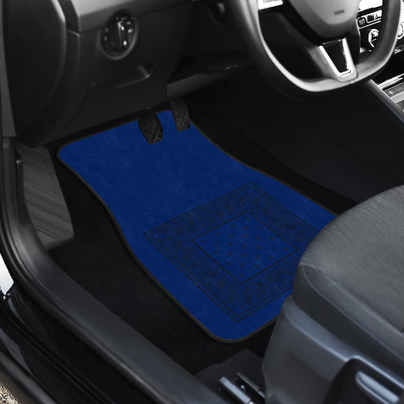 Quad Blue and Black Bandana Car Mats - Minimal