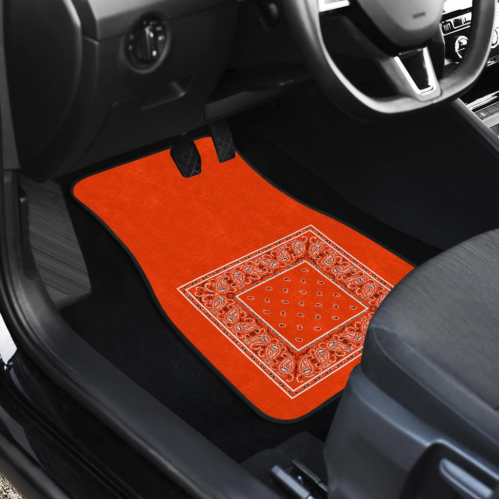 Quad Perfect Orange Bandana Car Mats - Minimal