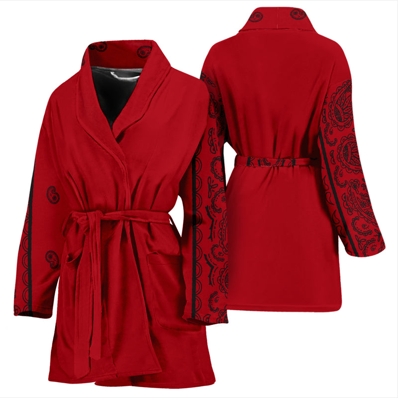 red and black women's robe