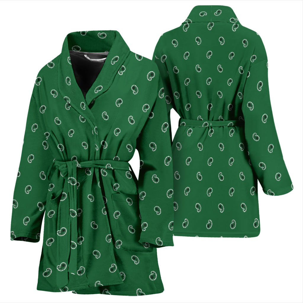 green paisley women's bathrobe