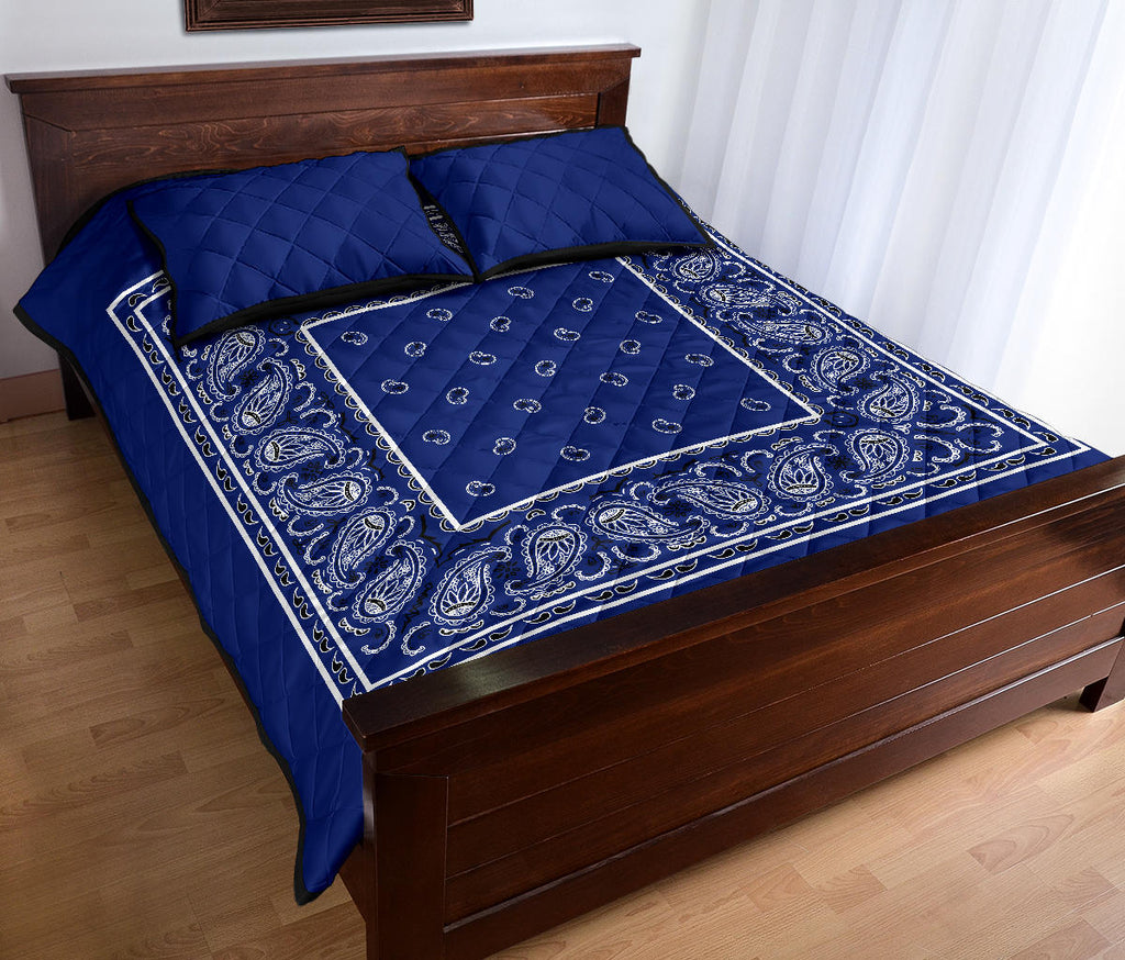 Royal Blue Bandana Bed Quilts with Shams