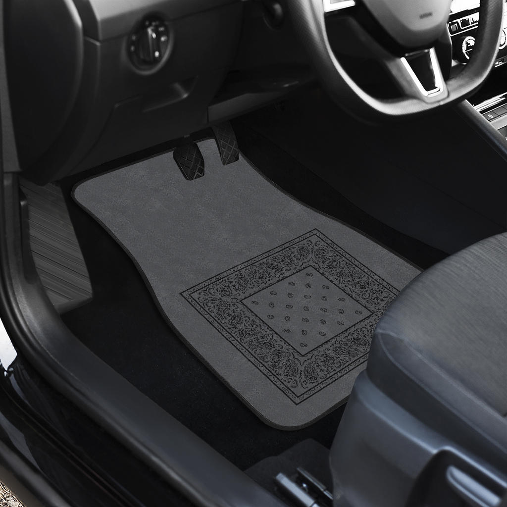 Quad Black and Gray Bandana Car Mats - Minimal