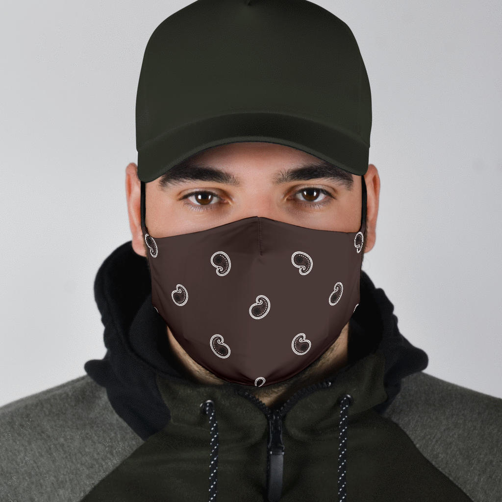 brown paisley covid face masks for men