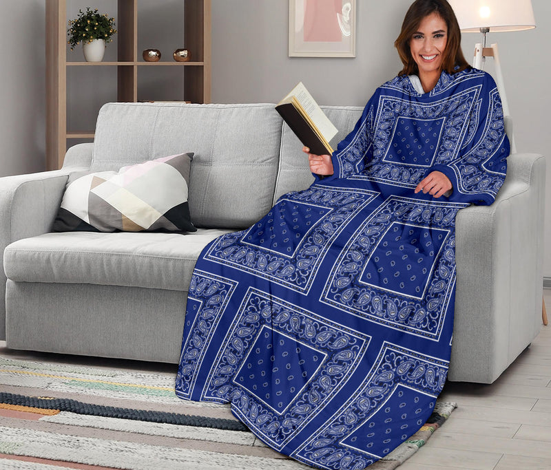 royal blue bandana sleeved blanket