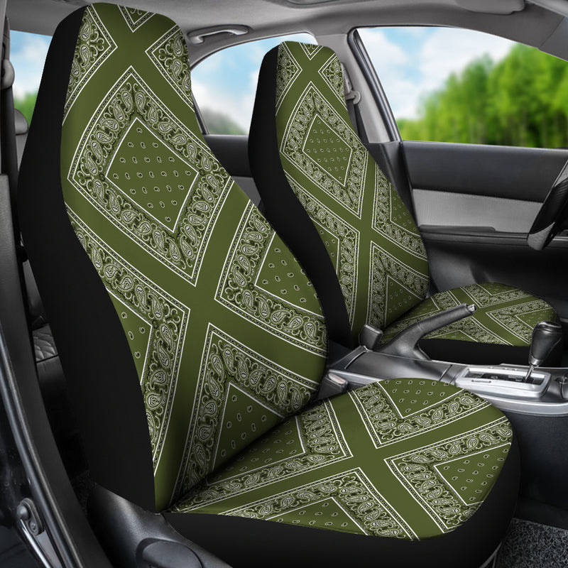 Army Green Bandana Car Seat Covers - Diamond