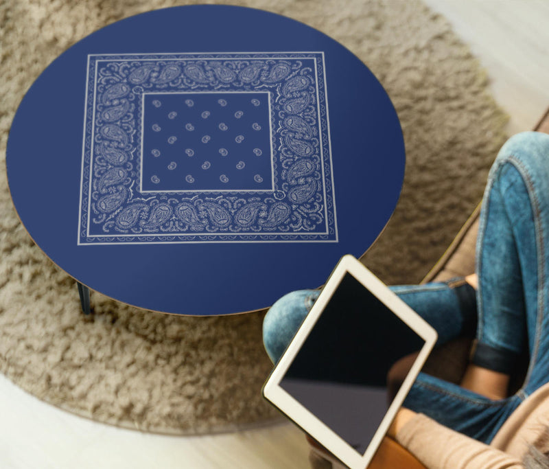 Blue and Gray Bandana End Table