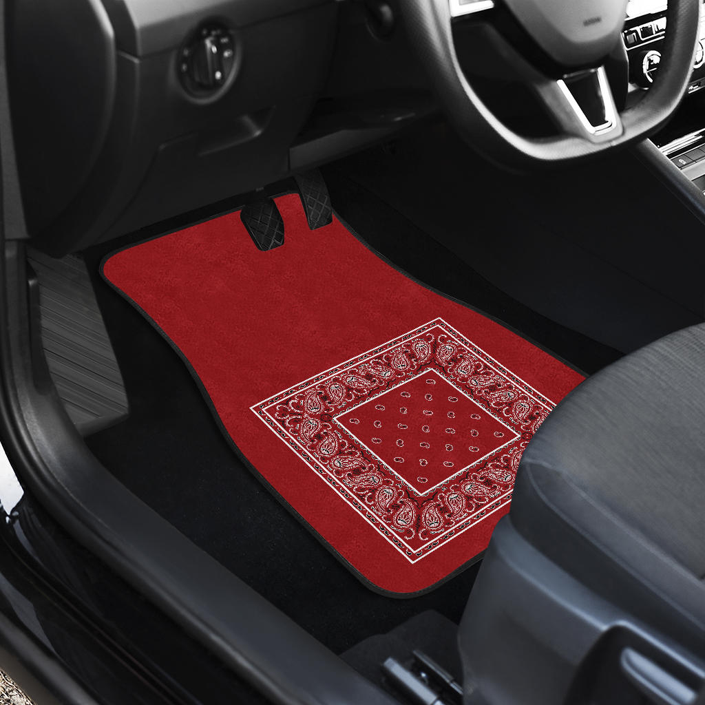 Quad Classic Red Bandana Car Mats - Minimal