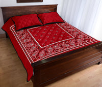 red bandana quilted bedspread and pillow covers