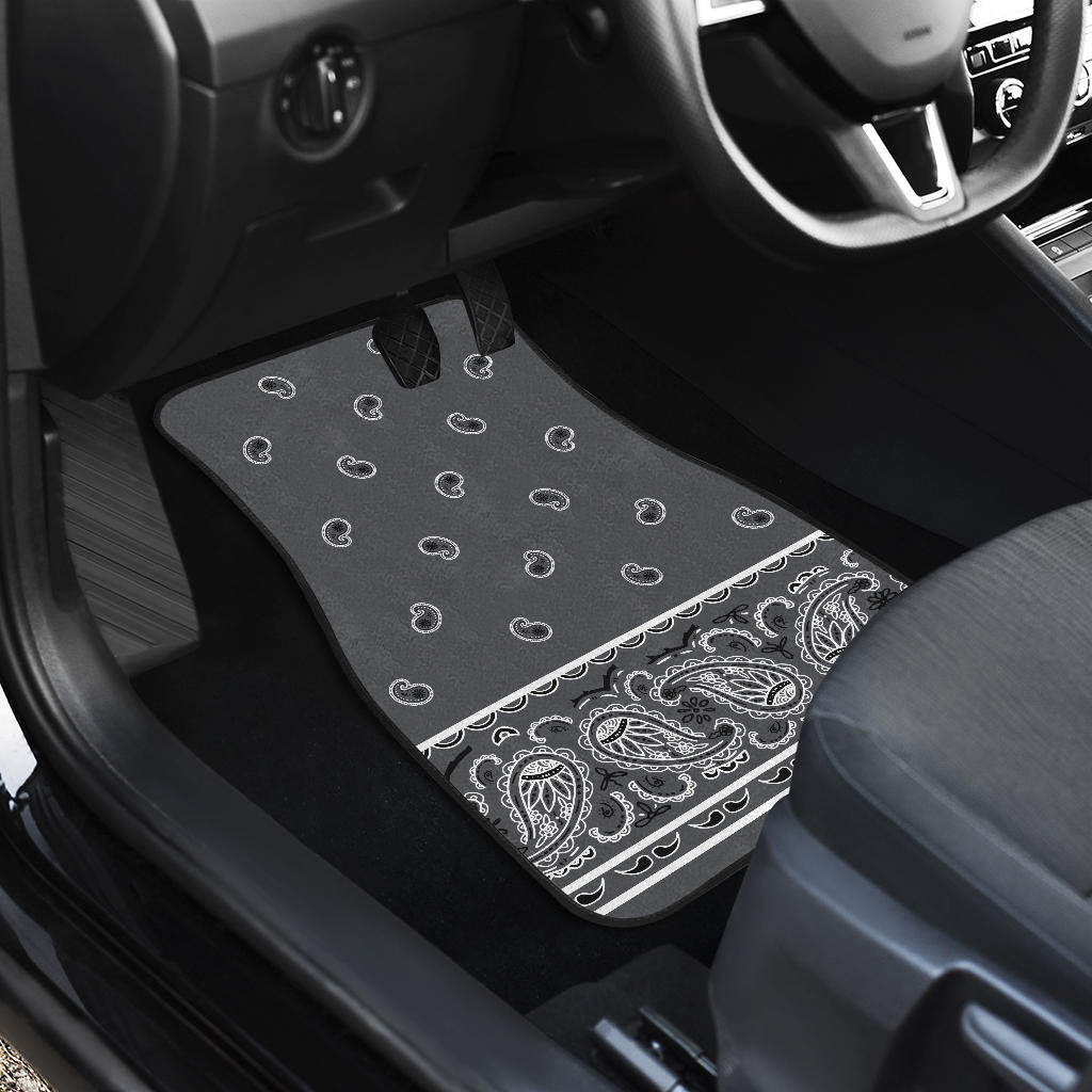 Quad Classic Gray Bandana Car Mats - Fancy