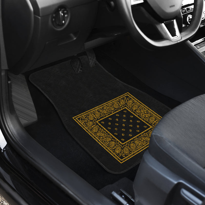 Dual Black Gold Bandana Car Mats - Minimal