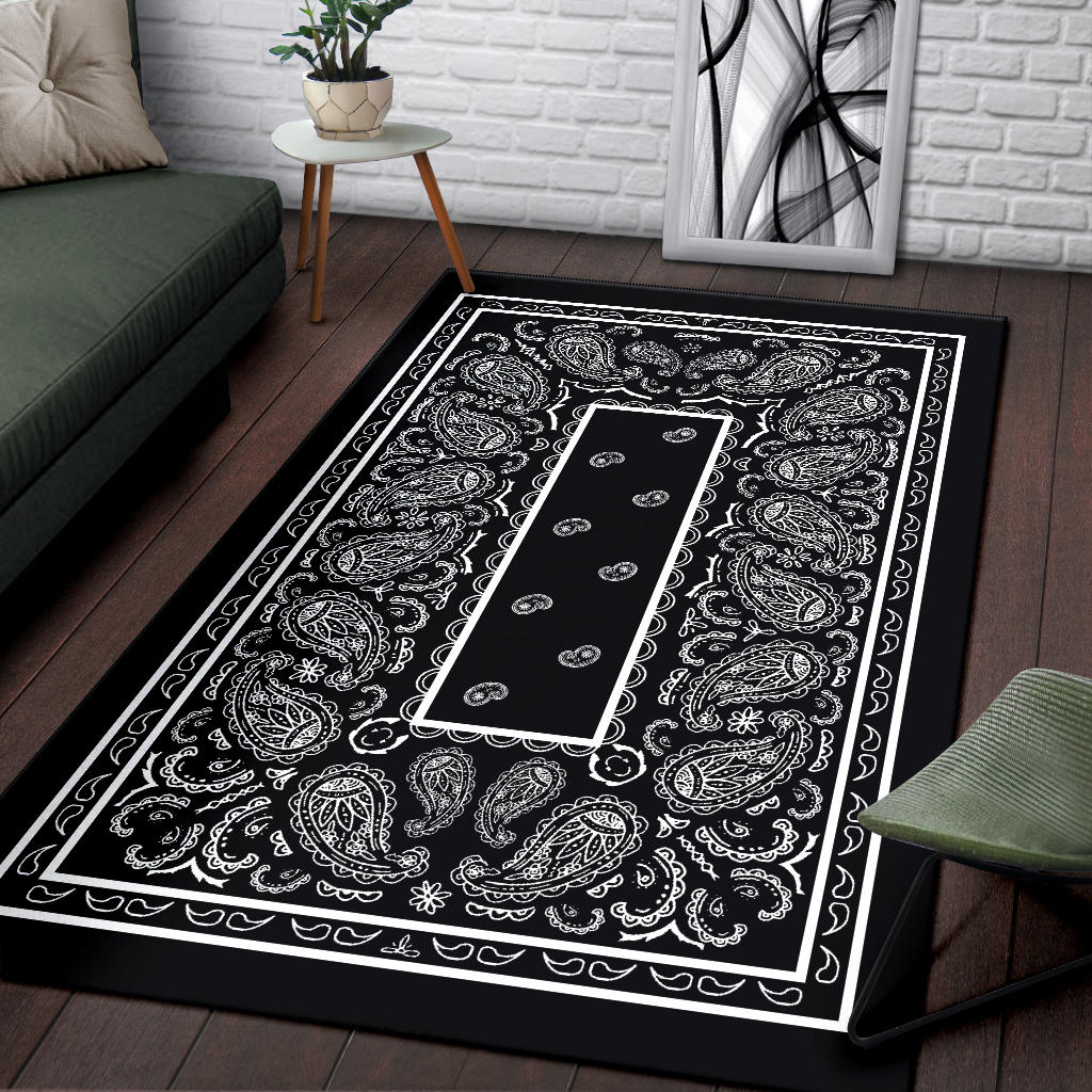 Black Bandana Area Rugs The Bandana Blanket Company