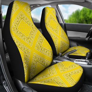 Sunshine Yellow Bandana Car Seat Covers - Diamond