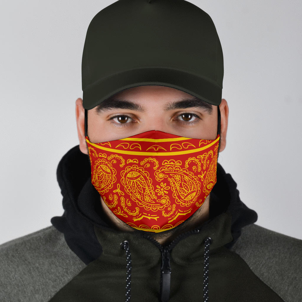 red and gold bandana masks