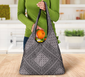Gray and Black Bandana Grocery Bag 3-Pack