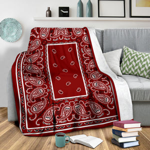 Ultra Plush Maroon Bandana Throw Blanket