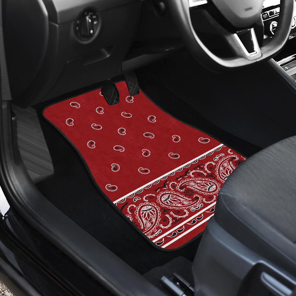 Quad Classic Red Bandana Car Mats - Fancy
