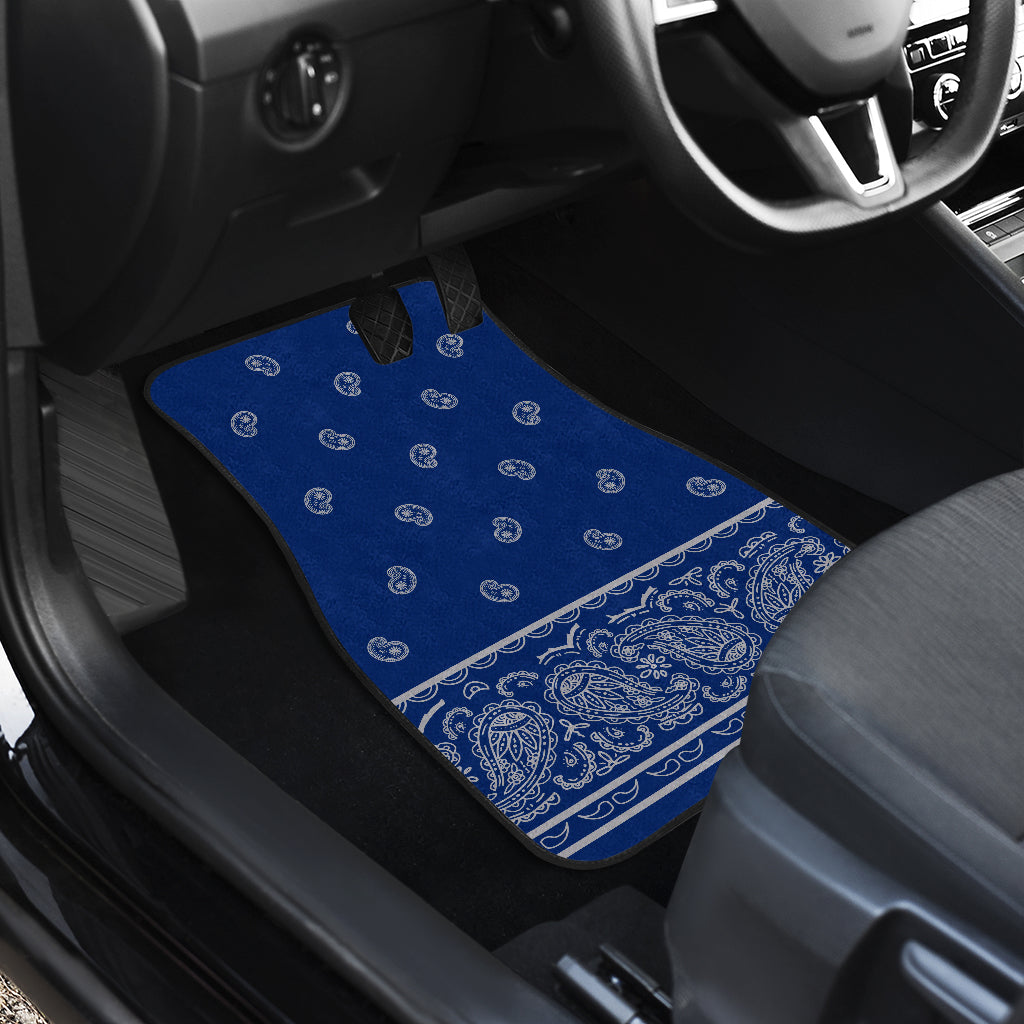 Quad Blue and Gray Bandana Car Mats - Fancy