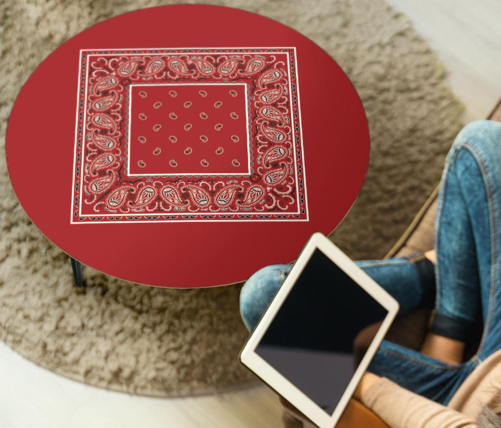 Red Bandana Round Coffee Table