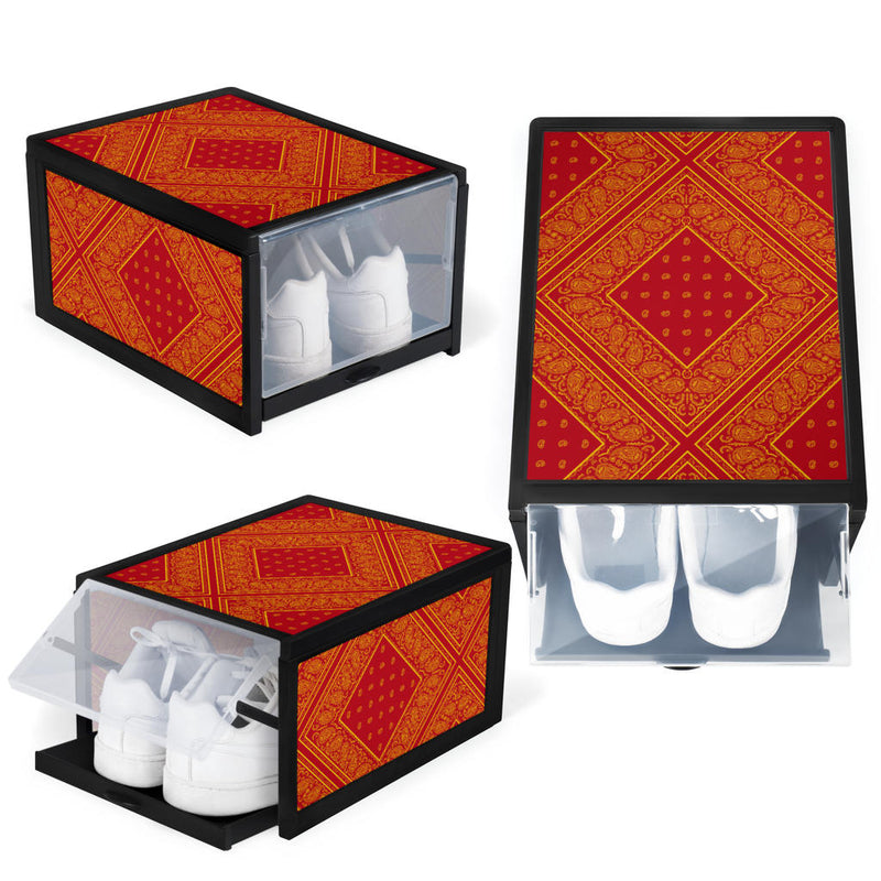 Red and Gold Bandana Shoe Organizers
