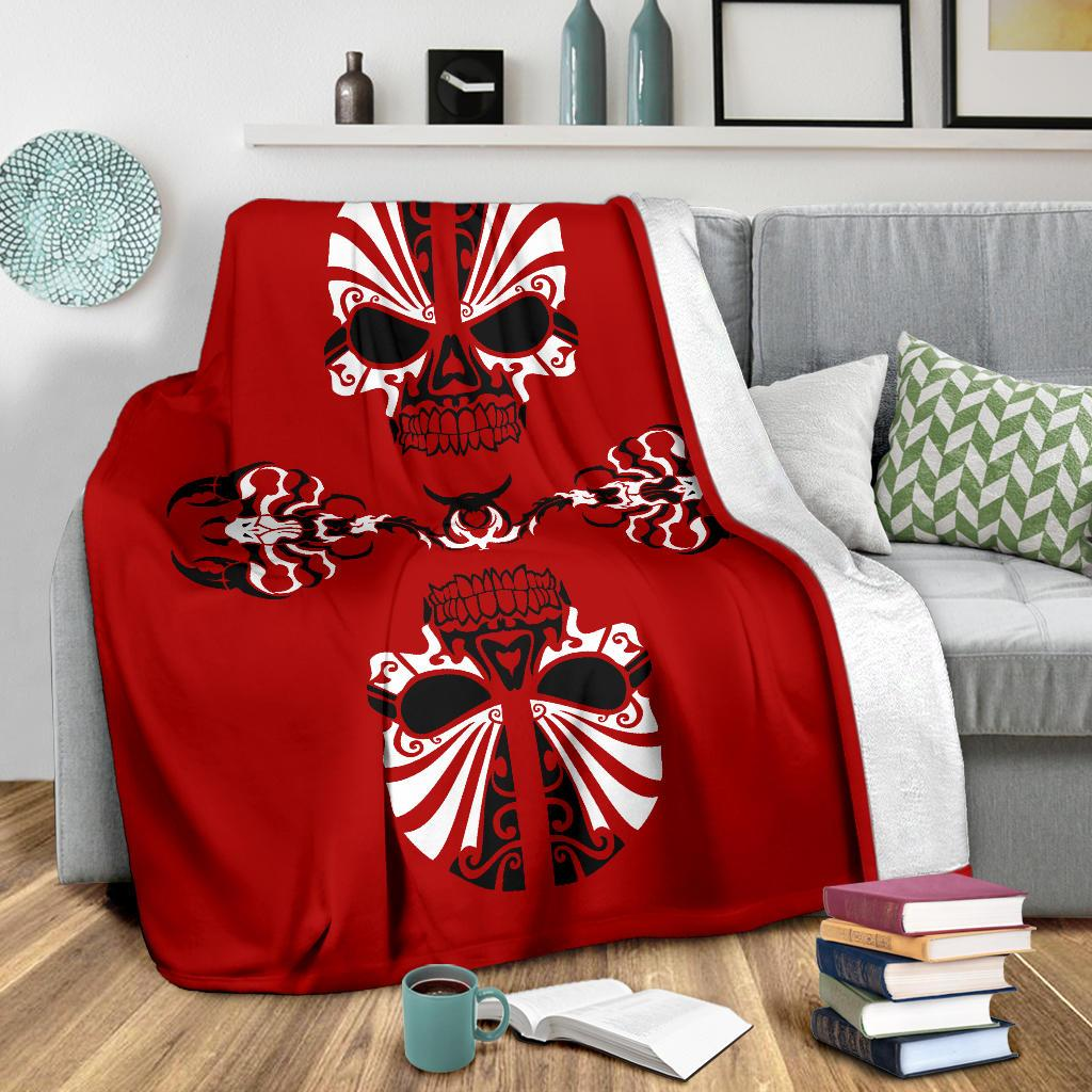 Red Skulls and Scorpions Tribal Fleece Throw Blanket