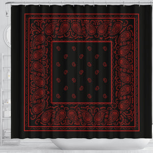 black and red bandana shower curtain decor