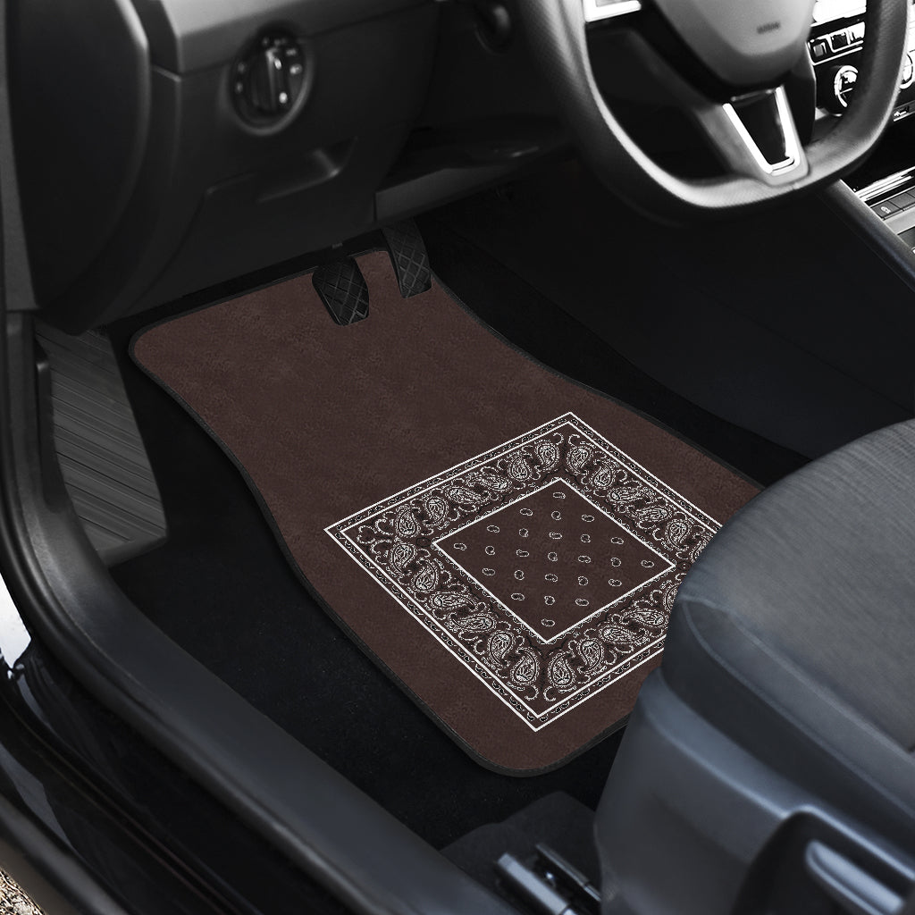 Quad Coffee Brown Bandana Car Mats - Minimal