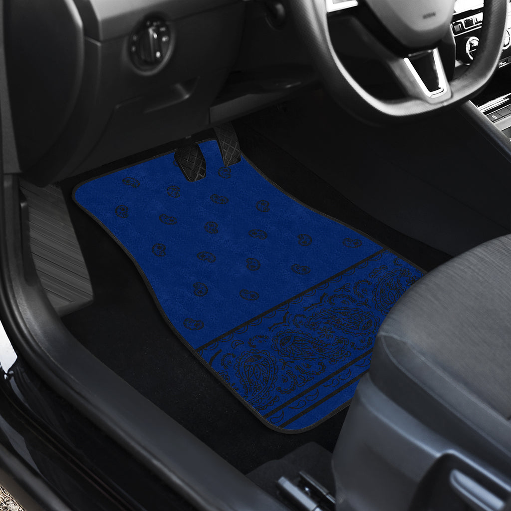 Quad Blue and Black Bandana Car Mats - Fancy