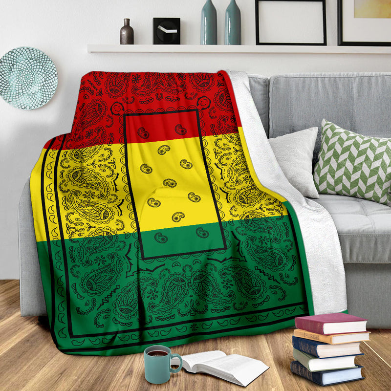 Rasta Colors Bandana Throw Blanket