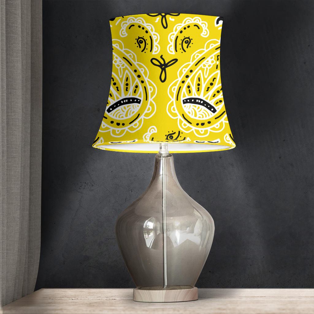 Yellow Paisley Drum Lampshade