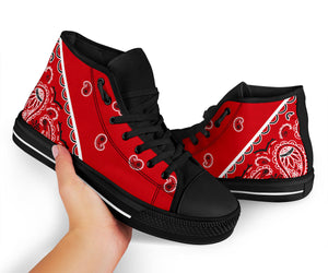 Classic Red Bandana High Top Sneakers - No Box