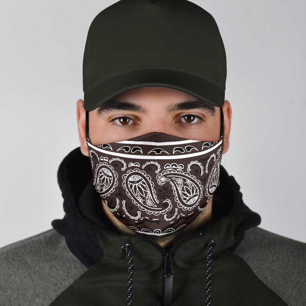 brown bandana men's face mask
